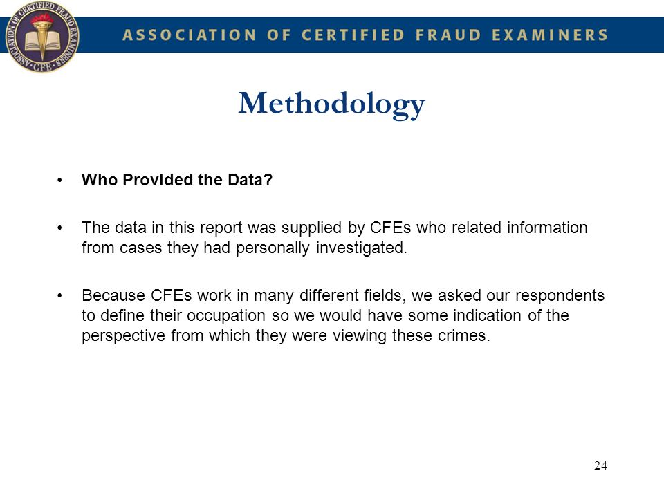 Methodology Who Provided the Data