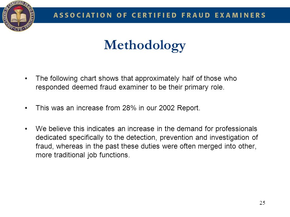 Methodology The following chart shows that approximately half of those who responded deemed fraud examiner to be their primary role.