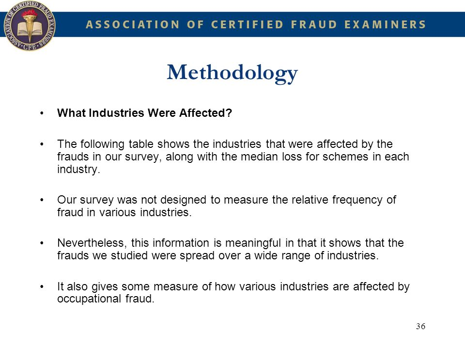 Methodology What Industries Were Affected