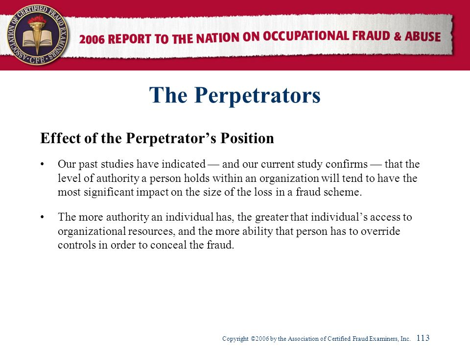 The Perpetrators Effect of the Perpetrator's Position