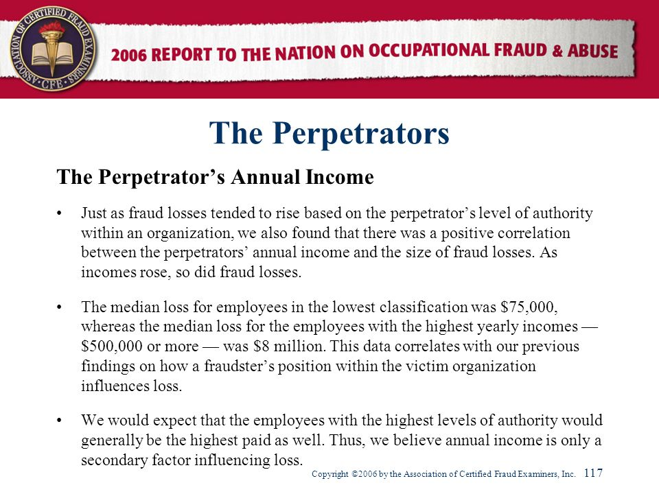 The Perpetrators The Perpetrator's Annual Income