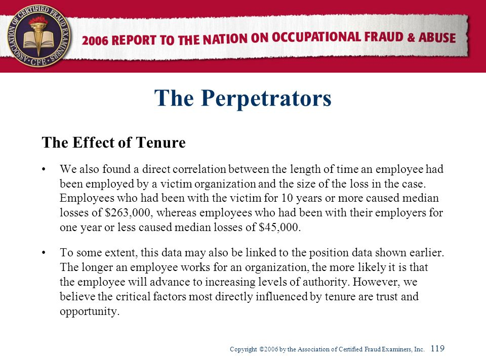 The Perpetrators The Effect of Tenure