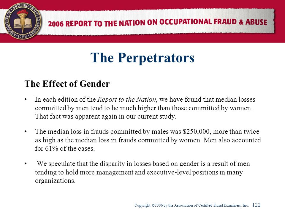 The Perpetrators The Effect of Gender