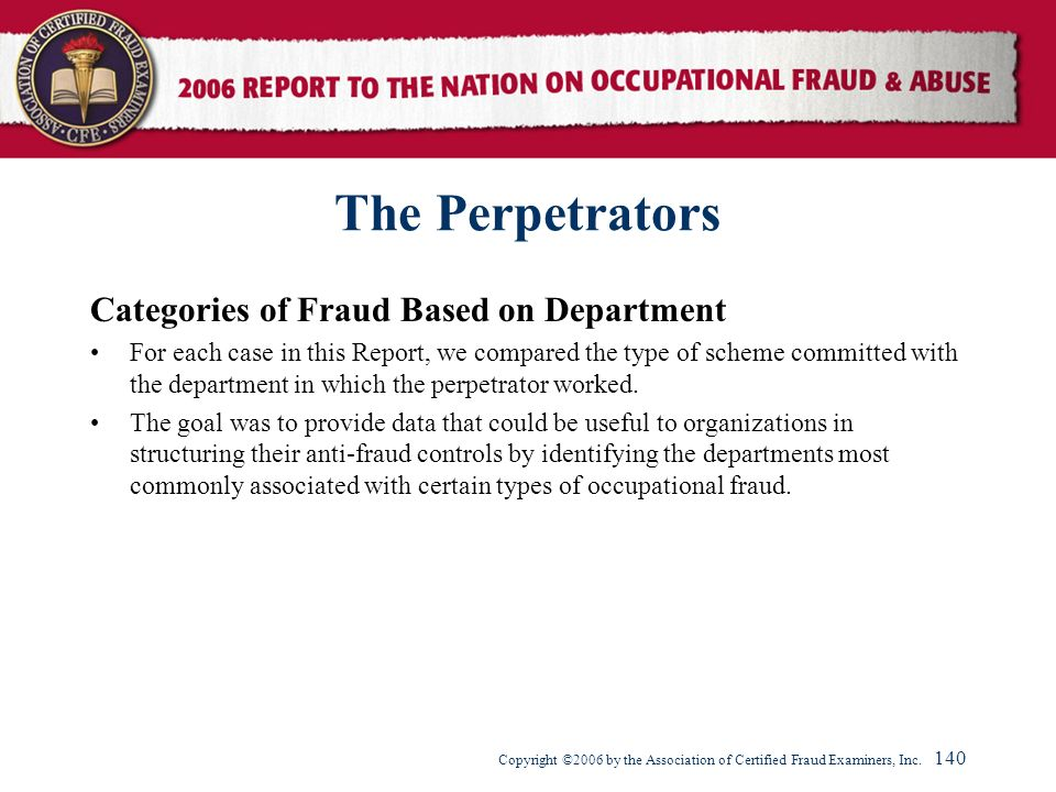 The Perpetrators Categories of Fraud Based on Department