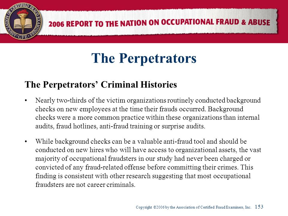 The Perpetrators The Perpetrators' Criminal Histories