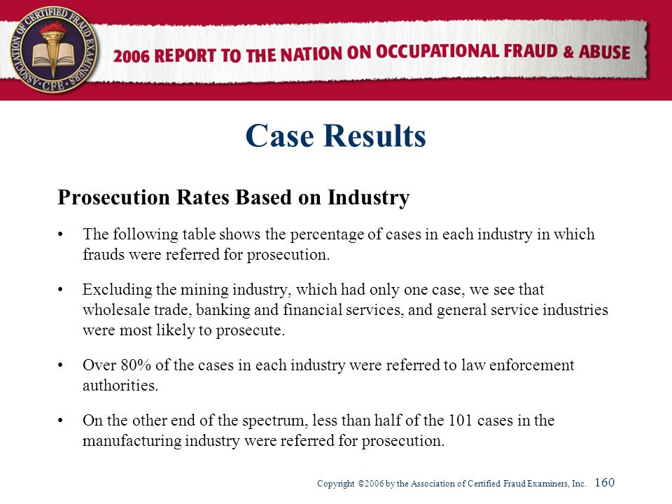 Case Results Prosecution Rates Based on Industry
