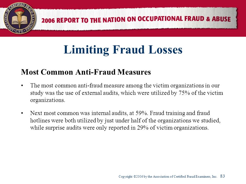 Limiting Fraud Losses Most Common Anti-Fraud Measures