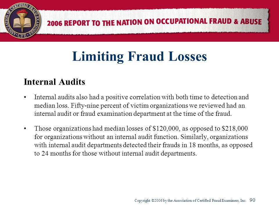 Limiting Fraud Losses Internal Audits