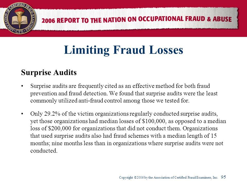 Limiting Fraud Losses Surprise Audits