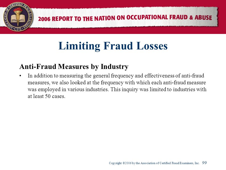 Limiting Fraud Losses Anti-Fraud Measures by Industry