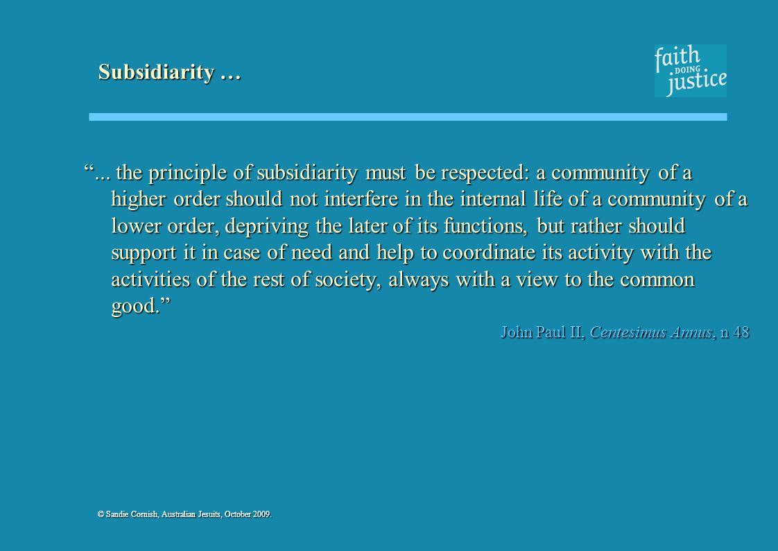 Subsidiarity …