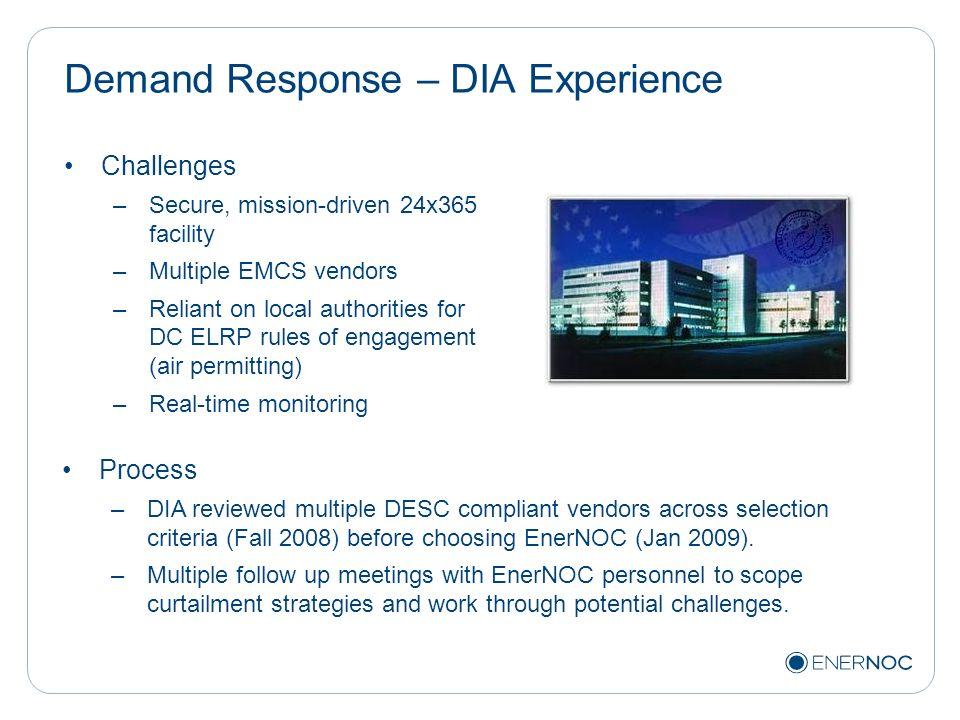 Demand Response – DIA Experience