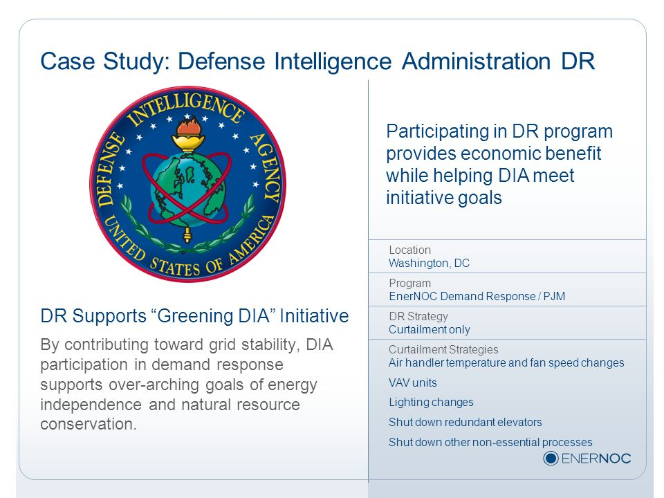 Case Study: Defense Intelligence Administration DR
