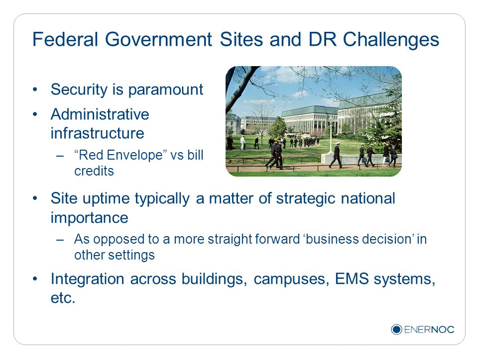 Federal Government Sites and DR Challenges