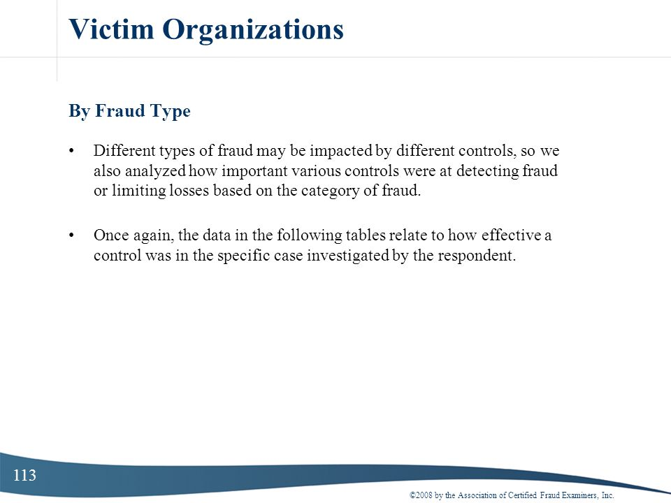 Victim Organizations By Fraud Type