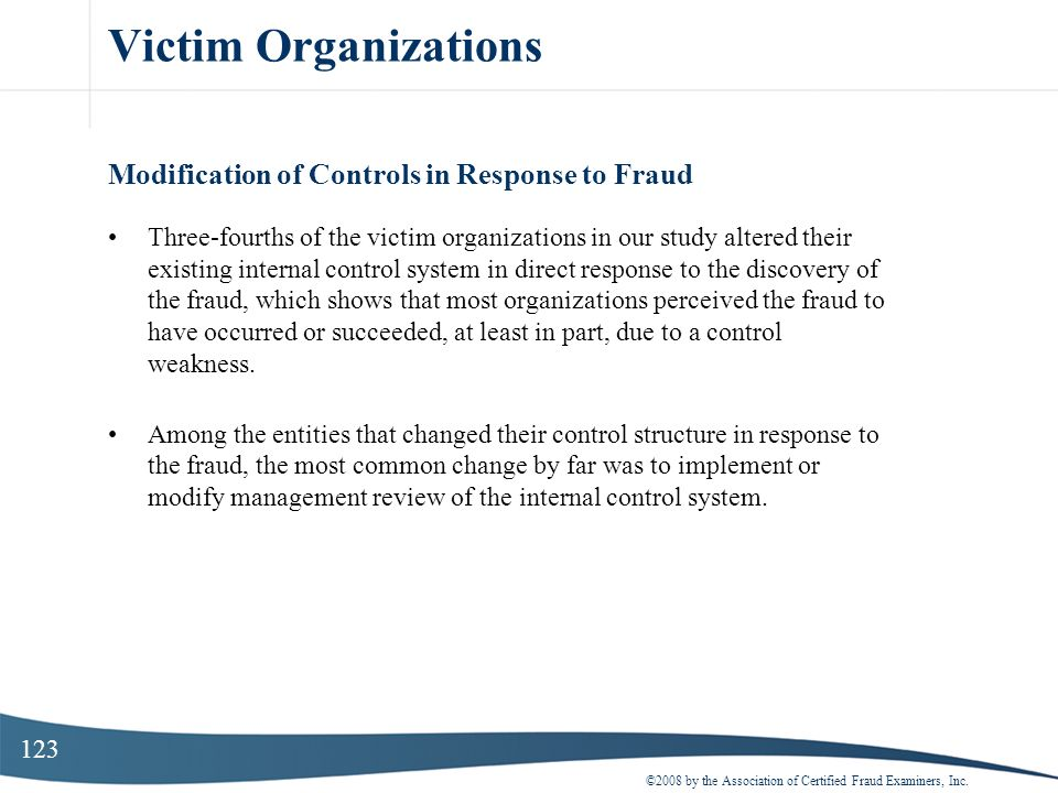 Victim Organizations Modification of Controls in Response to Fraud
