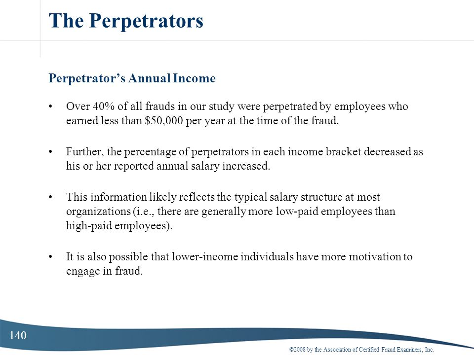 The Perpetrators Perpetrator's Annual Income