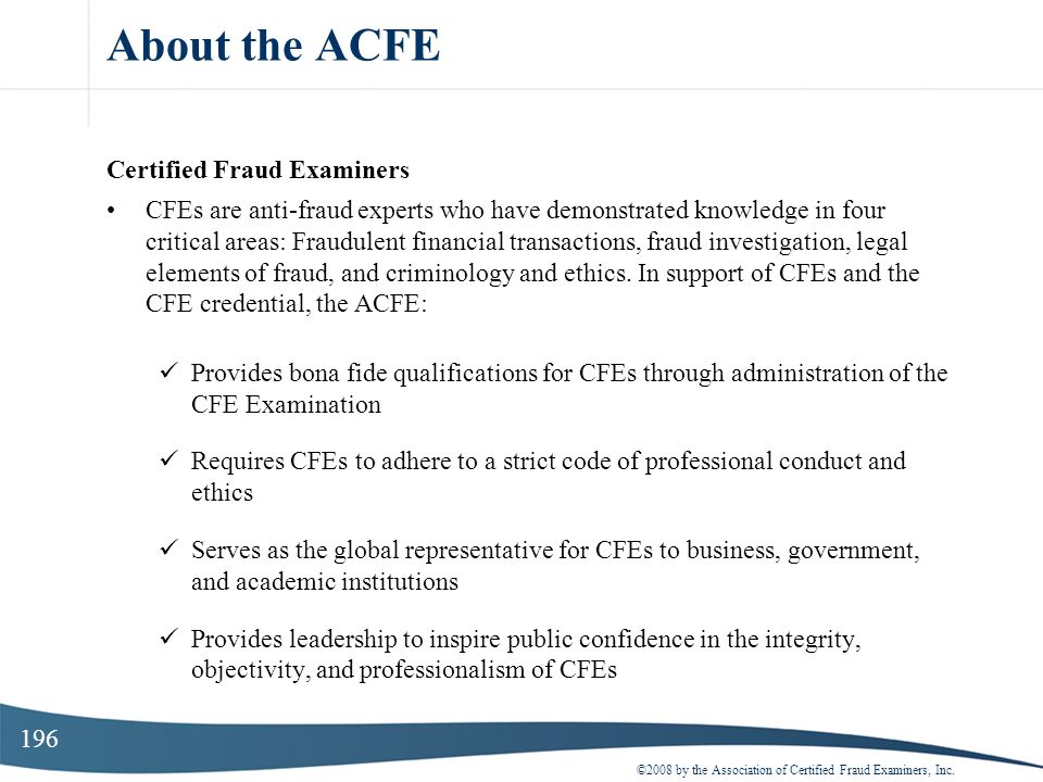 About the ACFE Certified Fraud Examiners