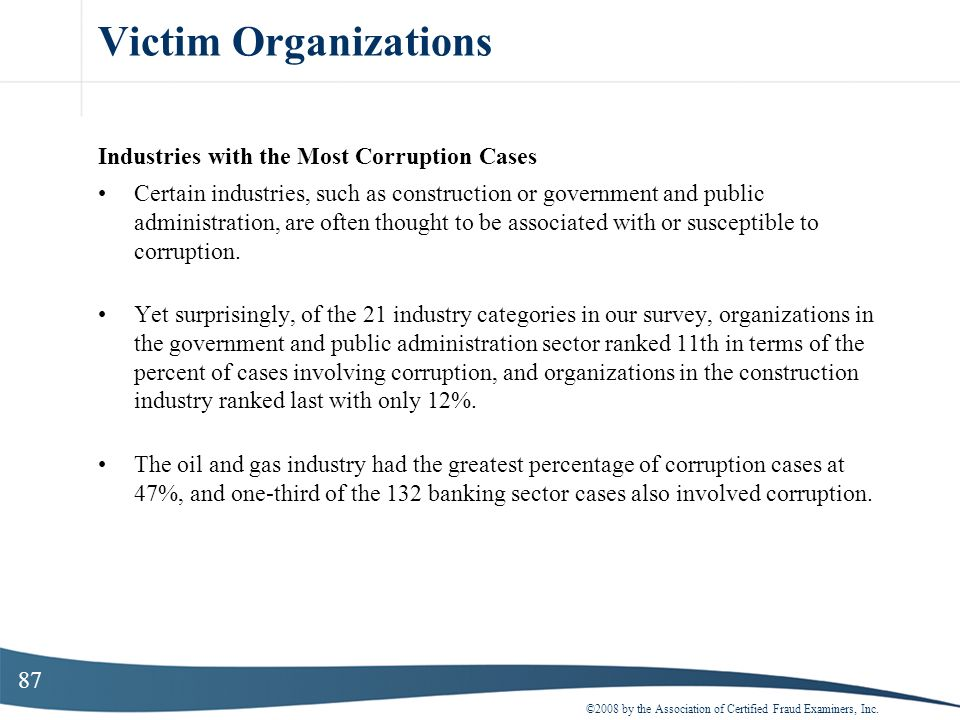Victim Organizations Industries with the Most Corruption Cases