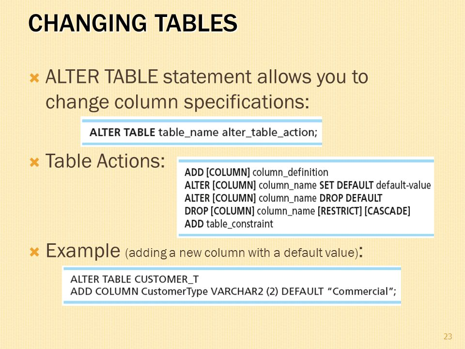 Alter table set default value oracle alter table add column oracle nous montrons toujours - Alter table modify default ...