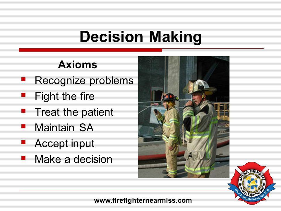 Decision Making Axioms Recognize problems Fight the fire