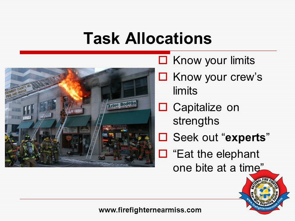 Task Allocations Know your limits Know your crew's limits