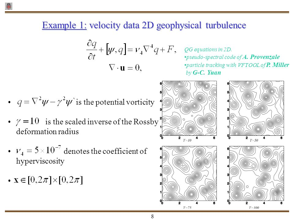 Example 1: velocity data 2D geophysical turbulence