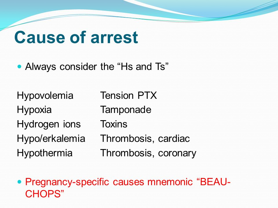 Cause of arrest Always consider the Hs and Ts