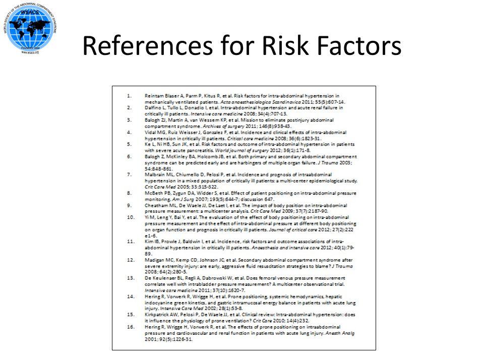 References for Risk Factors