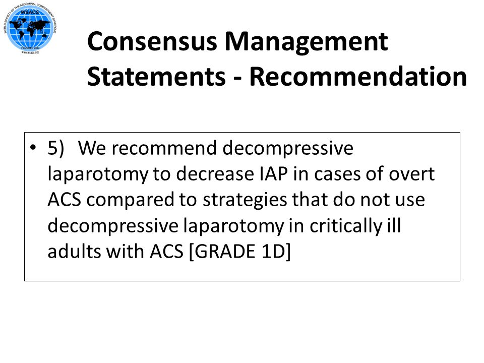 Consensus Management Statements - Recommendation