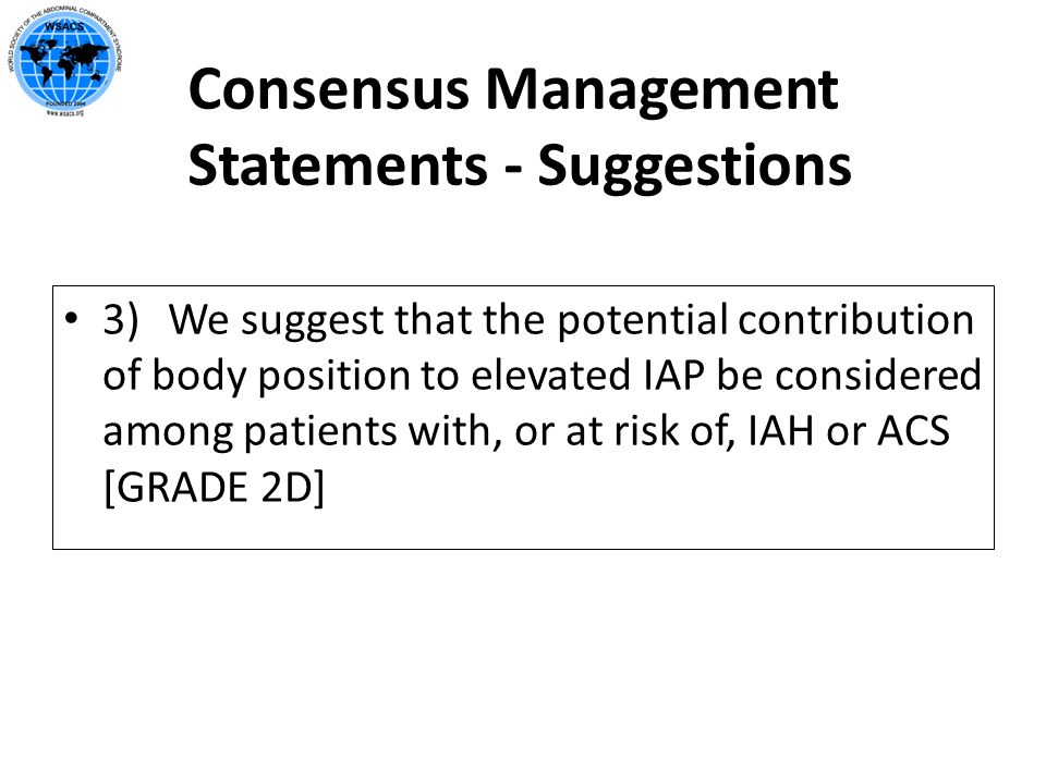 Consensus Management Statements - Suggestions