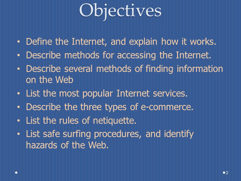 objectives of internet Search the world's most comprehensive index of full-text books my library.