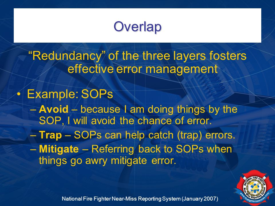 Overlap Redundancy of the three layers fosters effective error management. Example: SOPs.
