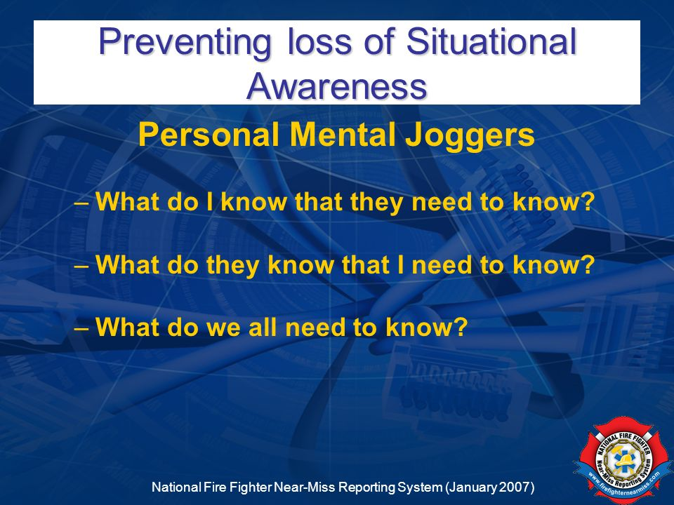 Preventing loss of Situational Awareness