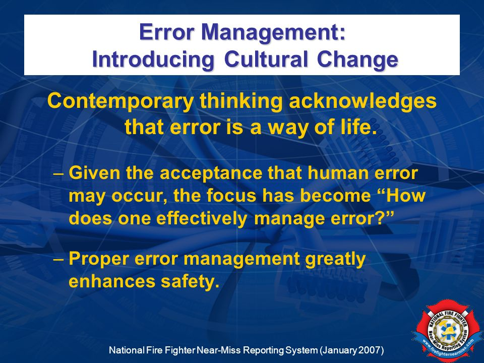 Error Management: Introducing Cultural Change