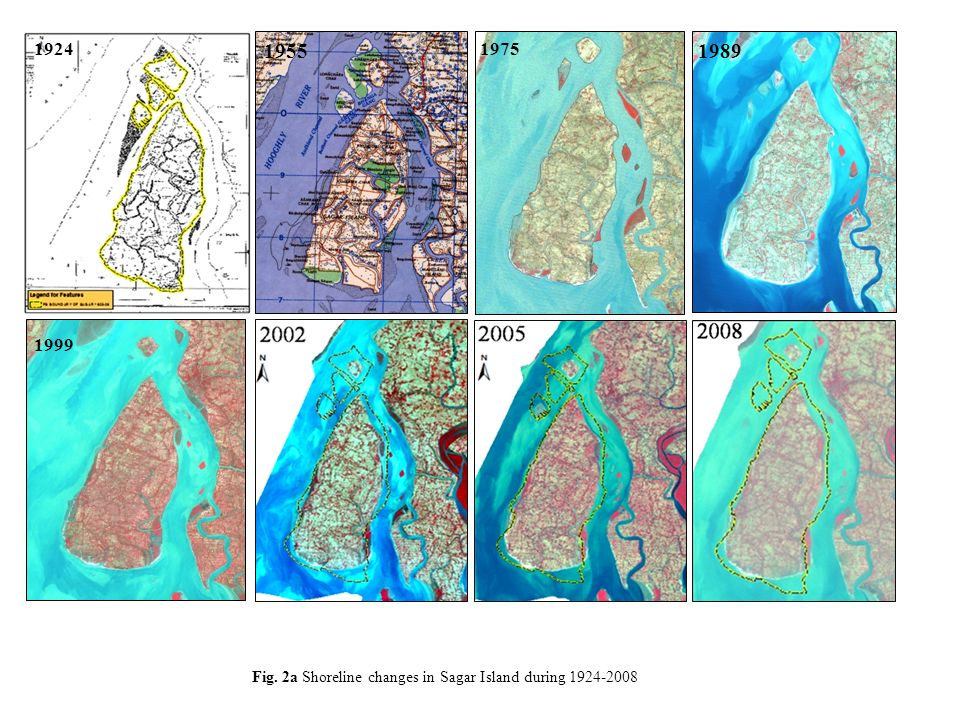 1924 1955 1975 1989 1999 Fig. 2a Shoreline changes in Sagar Island during 1924-2008