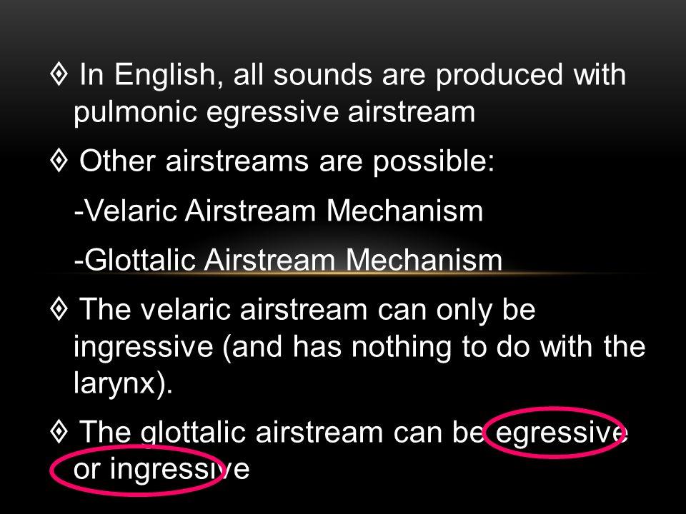 velaric glottalic pulmonic airstream mechanisms 43 the velaric airstream mechanisms the velaric airstream is used to describe an  no language uses only ingressive pulmonic air, only velaric or only glottalic.
