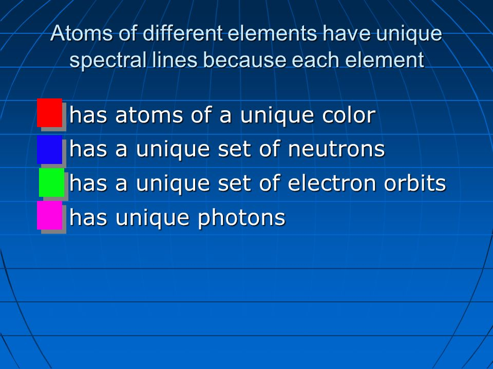 observation of different photons when elements Using this effect, if we have a source of photons of various energies we can obtain the absorption spectra for different materials to get an absorption spectrum, just shine white light on a.