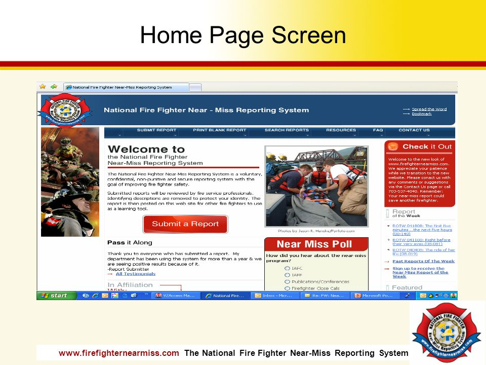 Home Page Screen Instructor is encouraged to visit website and print off sample reports to distribute.