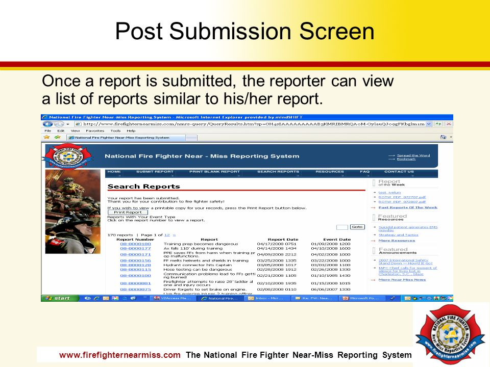 Post Submission Screen