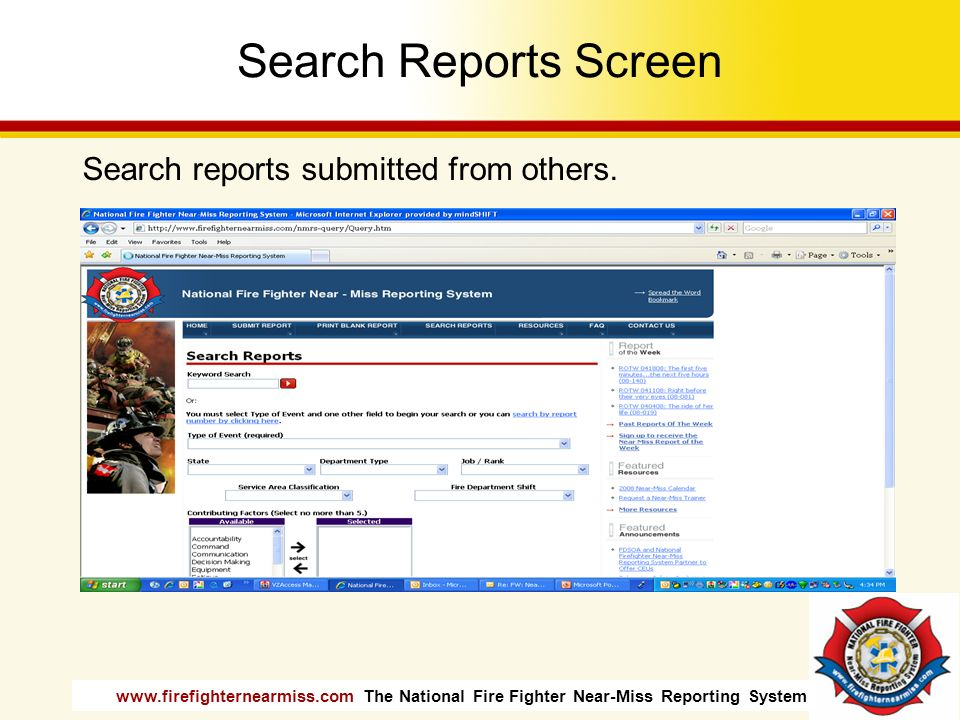 Search Reports Screen Search reports submitted from others.