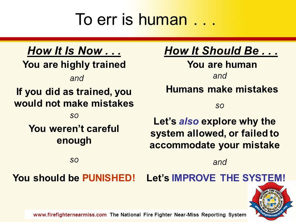 To err is human . . . How It Is Now . . . How It Should Be . . .