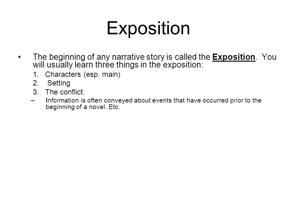 how to use exposition in a novel