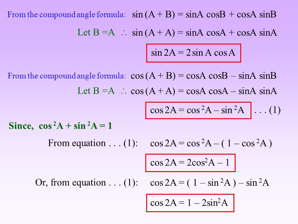 Formulas Trigonometric formulas sina ± sinb = 2 sin 1 2