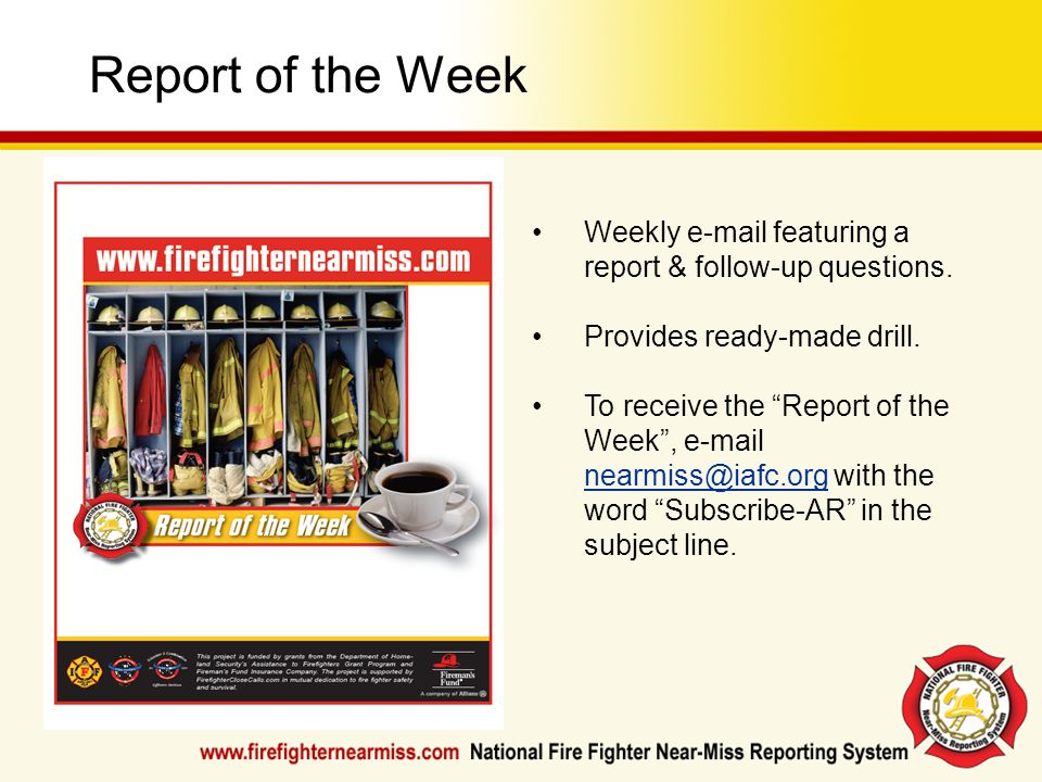 Report of the WeekWeekly e-mail featuring a report & follow-up questions. Provides ready-made drill.