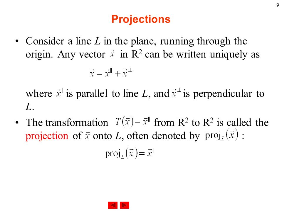 how to find projection of vector onto plane