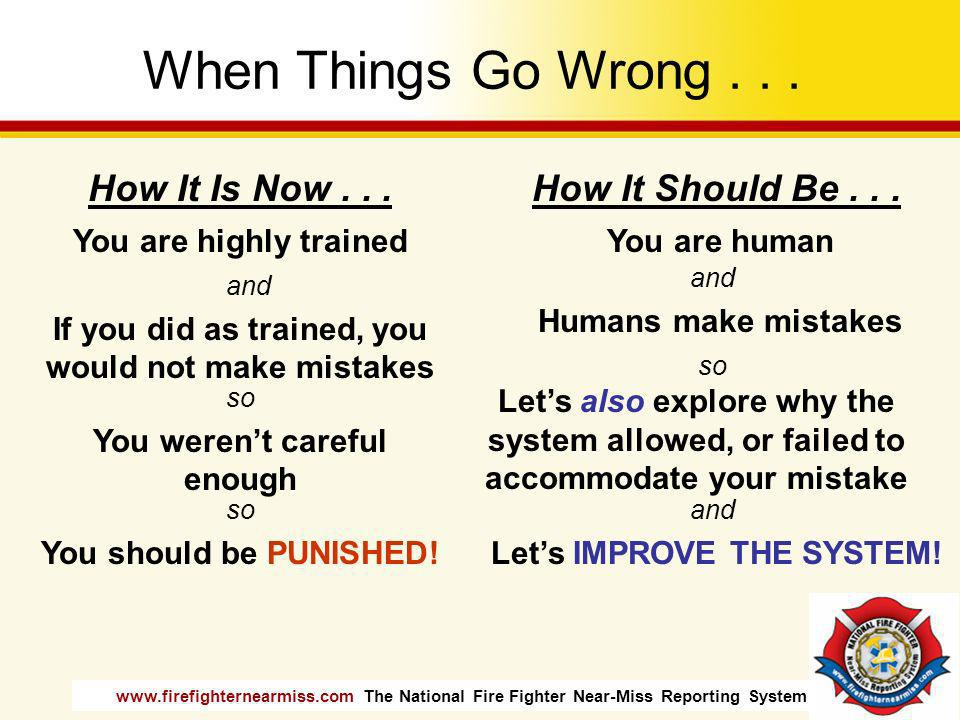 When Things Go Wrong . . . How It Is Now . . . How It Should Be . . .