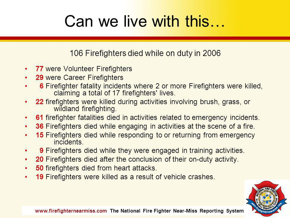 106 Firefighters died while on duty in 2006