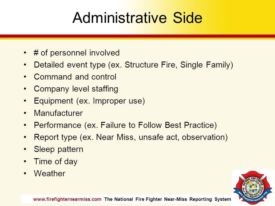 Administrative Side # of personnel involved