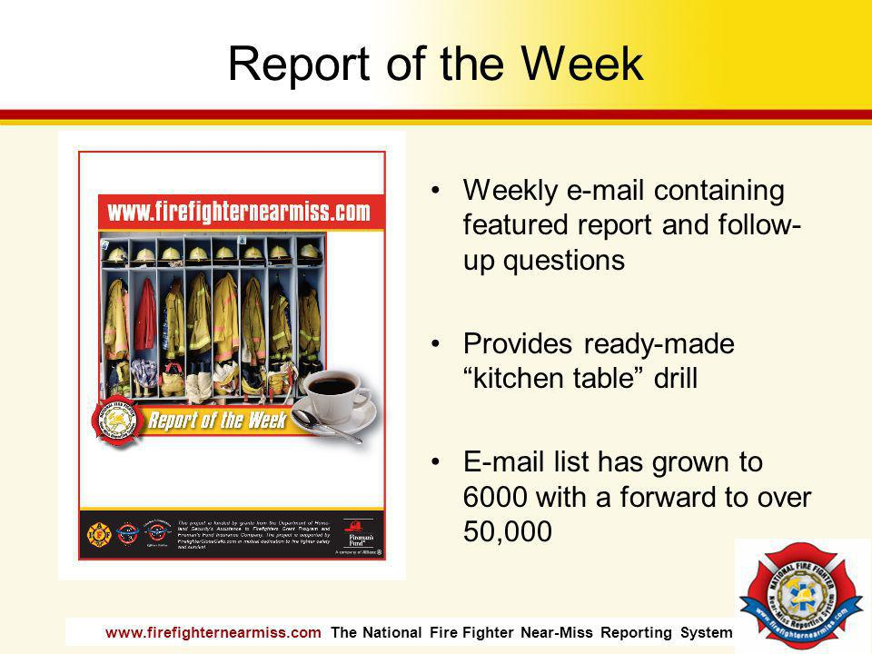 Report of the Week Weekly e-mail containing featured report and follow-up questions. Provides ready-made kitchen table drill.